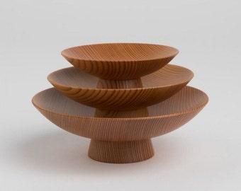 Hand-Made Akita Cedar Sakazuki Sake Set - 3 Sakazuki