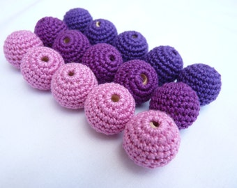 Crochet Purple beads 15 PC/ Wooden crochet beads/ Baby teething beads/ Lavender beads/ Beading supplies/ Jewelry supplies/ Crochet gift
