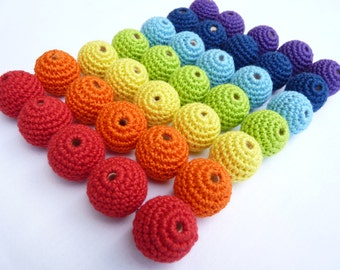 Rainbow Crochet beads 35 PC / Teething beads/ wooden crochet beads/ Beading supplies/ crochet ball beads/ Handmade beads/ jewelry supplies