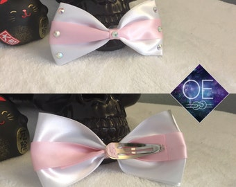 White and Pink Crystal Bow