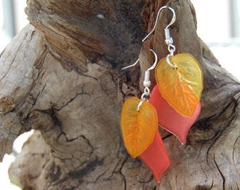 Yellow And Red Leaf Dangle Earrings, Sterling Silver