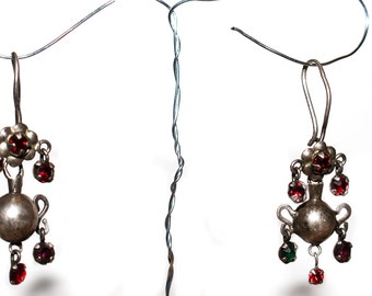Antique Silver Mayan Ethnic Earrings from Guatemala