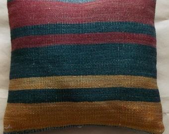 striped kilim pillow cover  37x36cm  1,2x1,2 feet,anatolian kilim pillow cover,wool kilim pillow