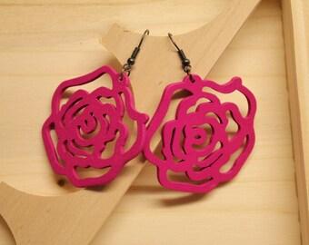 Wooden roses earring