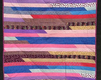 Blue-purple-pink Jelly Roll Quilt