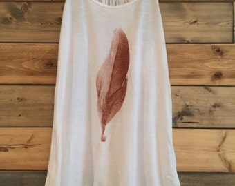 Feather Tank Top in White