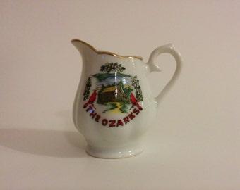 Vintage Small Souvenir Ozarks Ceramic Creamer Pitcher Collectible Kitchen Decor Americana
