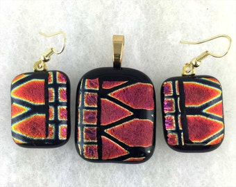 Burnt Orange, Gold and Black Dichroic Glass Pendant and Earring Set