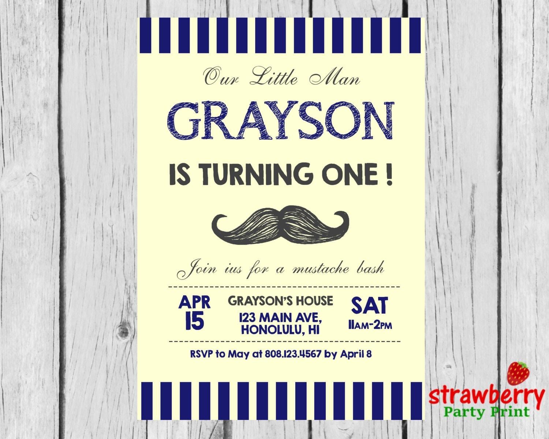 Little Man Birthday Invitation, Mustache Birthday Invitation, Little ...