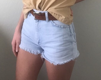 Vintage High Waisted Wrangler Shorts | Distressed Denim Shorts | Cut Offs | Frayed Blue Jeans | Mom Shorts Jeans