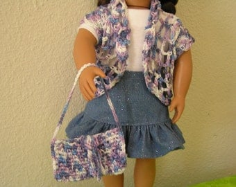 "OOAK - ""Today's Cowgirl"" for American Girl and 18 inch Dolls - 4-Piece Jeans Skirt Outfit with Crocheted Cardigan and Purse"