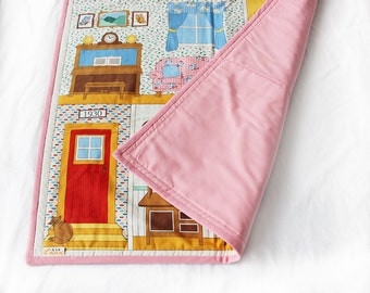 Dolls House Girls Play Mat / Pink Cotton Handmade