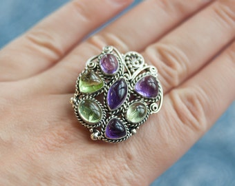 Amethyst Chrysolite Multistone Ring, Cabochon Amethyst, Cabochon Chrysolite, Amethyst Chrysolite Silver Ring, Filigree Multistone Ring.