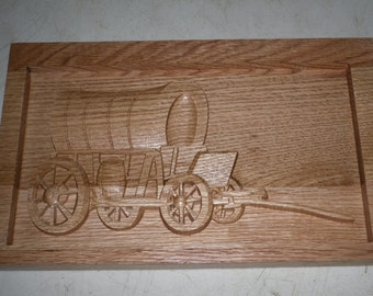 Covered Wagon--Wood carving---in Oak wood