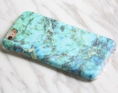 Marble Turquoise Print iPhone 6s Tough case Galaxy S7 Slim case iPhone SE Slim case Interchangeable KB-0877