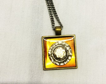Square Pendant With Honey Colored Background
