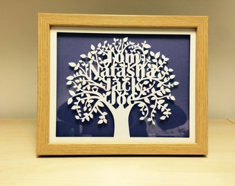 Framed Personalised Family Tree Paper Cut-out Art