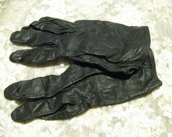 Vintage Black Ladies Leather Gloves