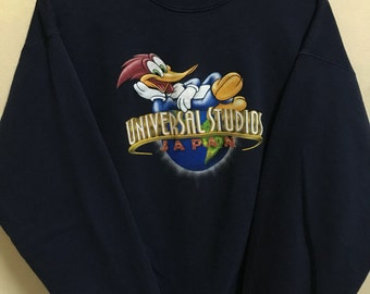 Vintage 90's Woody Woodpecker Universal Studios Cartoon Classic Design Skate Sweat Shirt Sweater Varsity Jacket Size L #A300