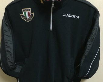 Vintage 90's Diadora Italia Black Classic Design Skate Sweat Shirt Sweater Varsity Jacket Size M #A366