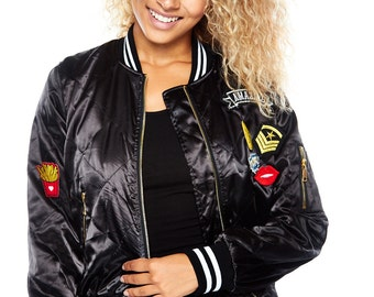 quilted bomber patched jacket