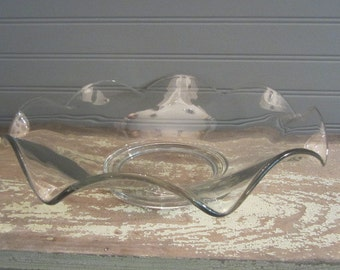 Large Heavy Weight Wavy Clear Glass Bowl