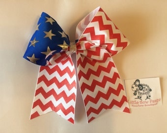 Chevron and Stars Patriotic Cheer Bow