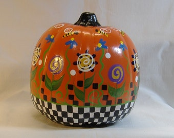 hand painted halloween pumpkin