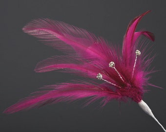 Burgundy Diamante Feathers - Wired Stem -  3 or 6 Stems - Bouquets, Fascinators, Hats, Cake Decoration