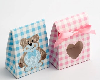 DIY Baby Favour Box Teddy Bear - Blue - Pink - Shower - Christening - Sacchetto Shape With Heart Shaped Window + Ribbon