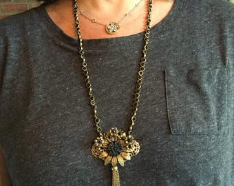"""Antique Pendent with Tassel on a Brass and Onyx Necklace, 32"""""""