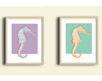 digital art prints set, printable wall art, office decor, office wall art, beach art, ocean art, Sea Horse art, green purple, wall art set 2
