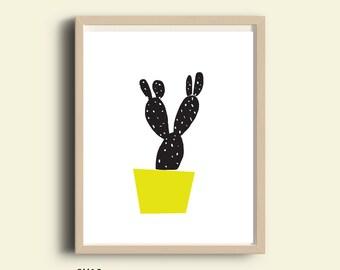 Printable wall art, wall art, download wall art, wall art print, wall art poster, black and white wall art, yellow, illustartion wall art