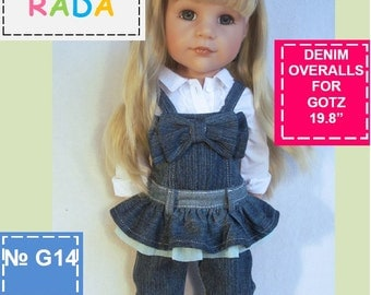 Denim overall pattern for 18 inch dolls (Gotz or similar measurements doll)