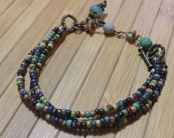Turquois Bracelet/Natural Multi Color/Multi Strand Bracelet/Colorful/Picasso Bead Bracelet/Multi Color/ Great Gift/Free US Shipping!!!