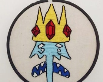 Ice King Portrait Embroidery - Adventure Time Inspired - Hand Made - Perfect Gift