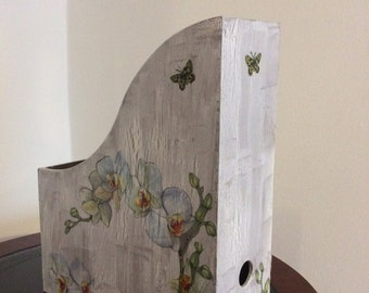 Wooden handmade magazine folder  decoupage