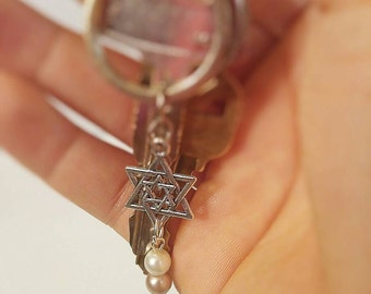 Star of David keychain with beads