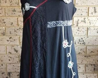 Black sleeveless dress black lace dress embellished lace dress little black dress size XL