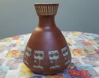 Dümler and Breiden: Vintage West German Vase 128/20 with Alien decor from the 1950s - UK Seller