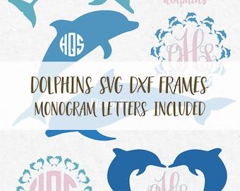 Svg Dolphins Monogram Frames Cut Files dolphins monogram svg monogram svg for silhouette svg files for cricut svg files svg high quality