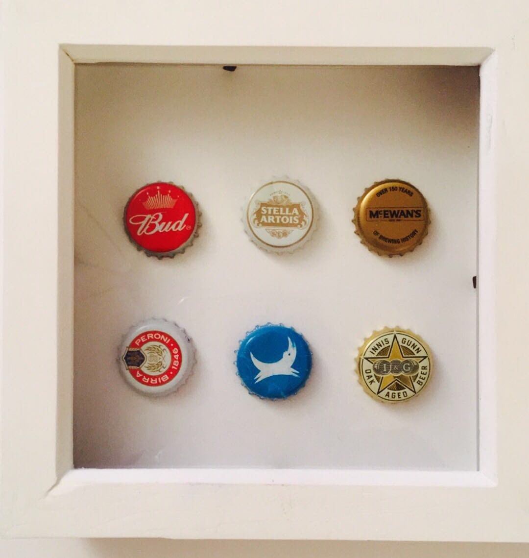 Beer bottle top frame perfect for man cave for Beer bottle picture frame