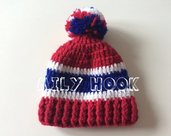 Tuque inspired hockey team the Montreal canadiens baby boy 0 to 3 months. NHL, Go habs go! Unisex