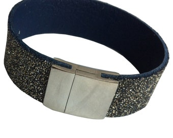 "Leather wristband ""Starry Night"""