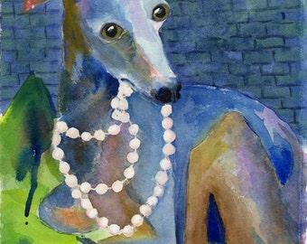 Italian Greyhound Dog Art Print of Original Watercolor Painting (Elsa)