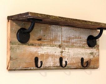Reclaimed Barn Wood Shelf W/ Hooks ~~ Coat Hanger ~~ Key Holder ~~ Hat Rack