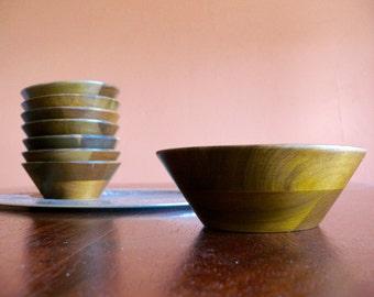 8 Hand Tooled Vermillion Walnut Wood Bowls, Vintage Mid Century Kitchen
