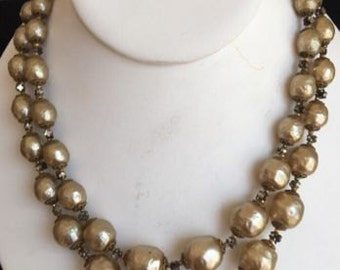 Signed Miriam Haskell Vintage Ornate Baroque Faux Pearl Necklace