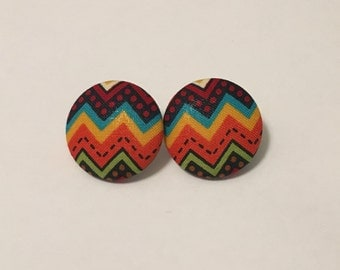 Azteca Print Button Earrings