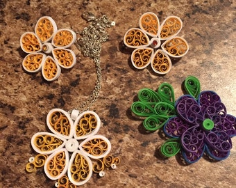 Paper Quilled Daisy Jewlery Set